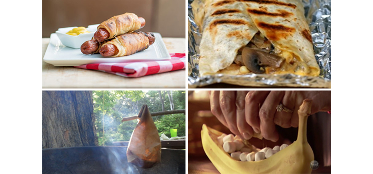 4 camping recipe ideas, picture of 4 different camping recipe ideas, top picture of crescent dogs then tin foil mean then eggs in a bag and last a banana boat