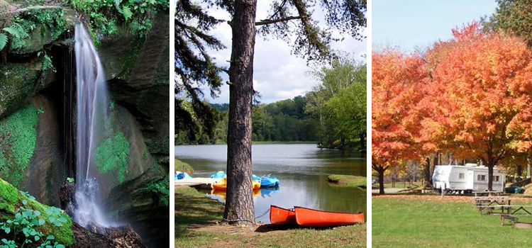 Best Kid Friendly Camping Locations in Ohio, camping locations in ohio, picture of mohican state park on the left with shawnee path state park in the middle and roundup lake rv resort on the right