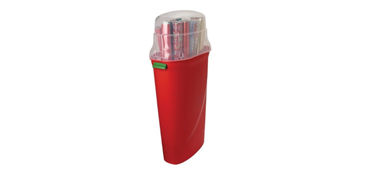 organize your rv, picture of a wrapping paper container that you could use for a clothes hamper inside of a rv bathroom